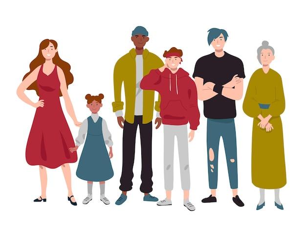 Grupo de pessoas de diferentes idades, infância, juventude, meia e idade