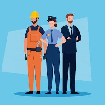 Grupo de pessoas de diferentes profissões vector design ilustração