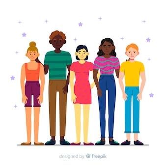 Grupo de pessoas de diferentes raças