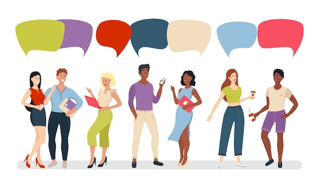 Grupo de pessoas de hipster com bolhas de bate-papo, homens e mulheres jovens casuais misturam a raça. empresários discutem redes sociais, notícias, redes sociais, chat, balões de diálogo de diálogo