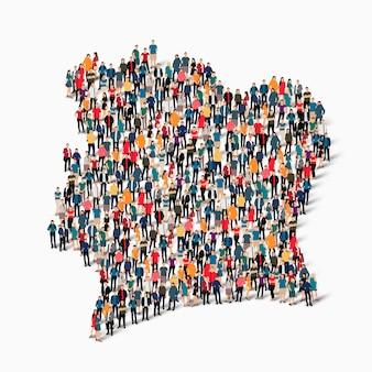 Grupo de pessoas de multidão formando um mapa da costa do marfim.