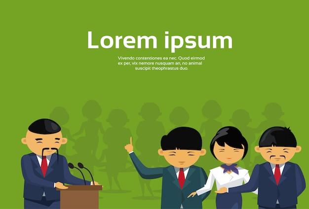 Grupo de pessoas de negócios asiáticos ouvir líder chefe permanente