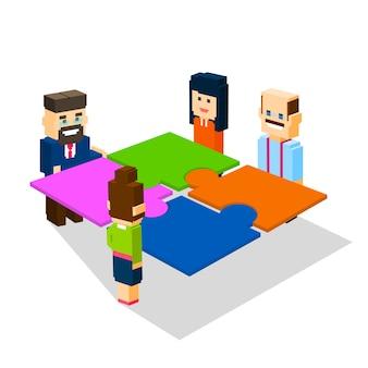 Grupo de pessoas de negócios fazer puzzle resolver