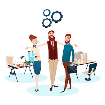 Grupo de pessoas de negócios no local de trabalho de equipe
