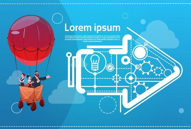 Grupo de pessoas de negócios voando no conceito de inicialização de sucesso de balão de ar