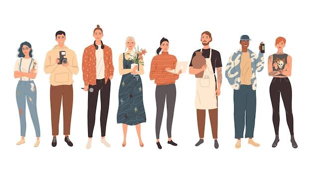 Grupo de pessoas de profissões criativas, homens e mulheres jovens e modernos