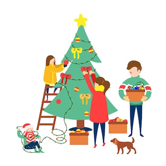 Grupo de pessoas decorando a árvore de natal