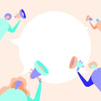 Grupo de pessoas desenhando segurando seus megafones, conversando e compartilhando ideias entre si para conversar na nuvem. desenho de linha da máfia fazendo novo anúncio um para o outro.