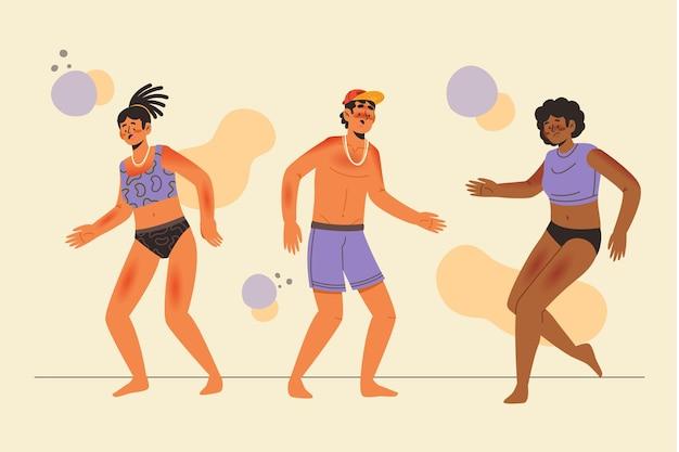 Grupo de pessoas diferentes com queimaduras de sol