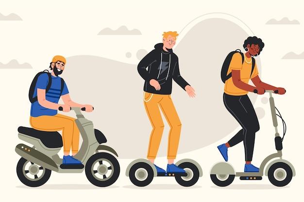 Grupo de pessoas dirigindo diferentes métodos de transporte elétrico