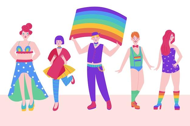 Grupo de pessoas do dia do orgulho