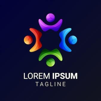 Grupo de pessoas e ícones de conexão social e logotipo
