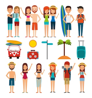 Grupo de pessoas e ícones de férias de verão