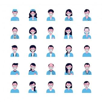Grupo de pessoas e médicos usando máscaras médicas