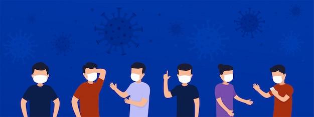 Grupo de pessoas em máscaras protetoras contra doenças infecciosas da gripe está preocupado com o vírus.