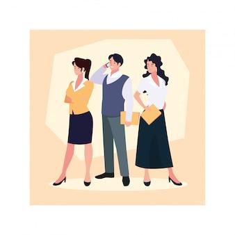 Grupo de pessoas em pé de negócios, profissionais de negócios