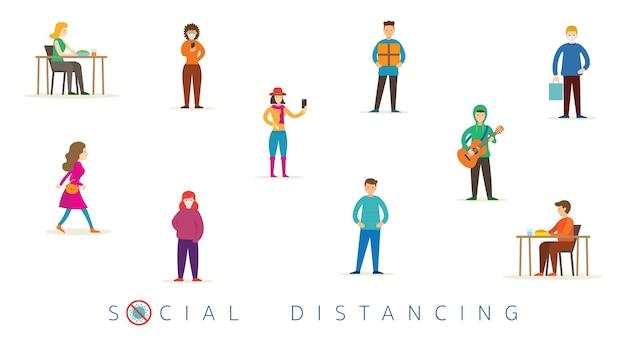 Grupo de pessoas em proteção do conceito de distanciamento social, prevenção do coronavírus