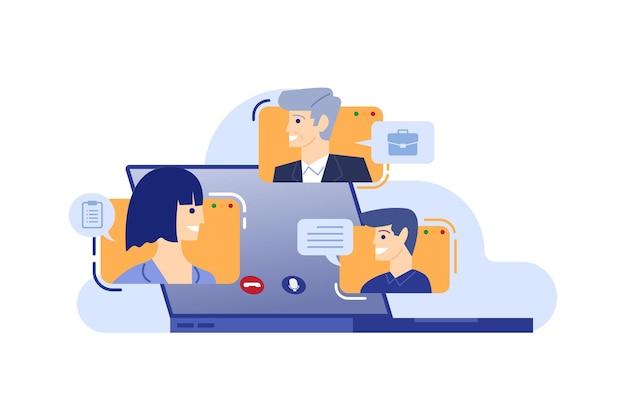 Grupo de pessoas em reunião online com ilustração vetorial de videoconferência