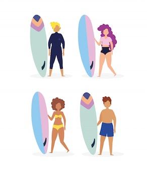 Grupo de pessoas em trajes de banho com pranchas de surf personagens de desenhos animados