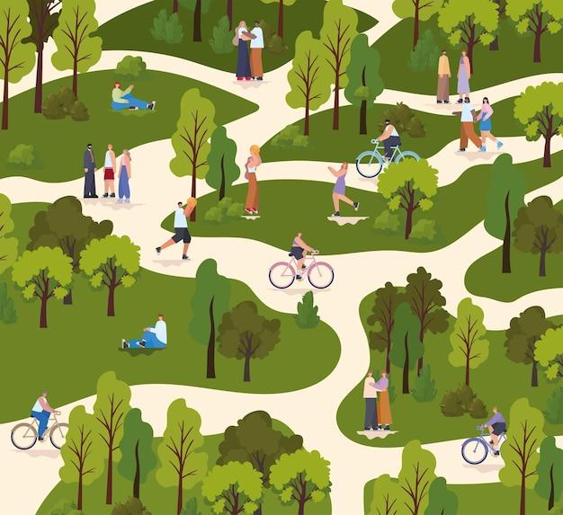 Grupo de pessoas em um parque fazendo atividades diferentes