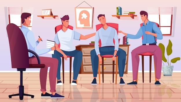 Grupo de pessoas em uma ilustração de sessão de psicoterapia