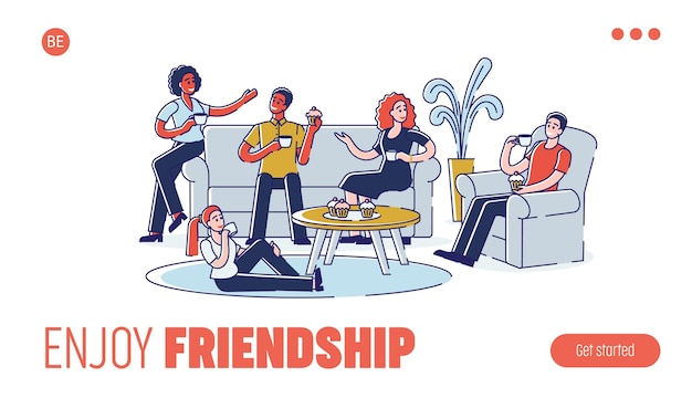 Grupo de pessoas está se comunicando e passando tempo juntos em casa com bebidas quentes e comendo cupcakes. página inicial do site. web page cartoon contorno linear plana.