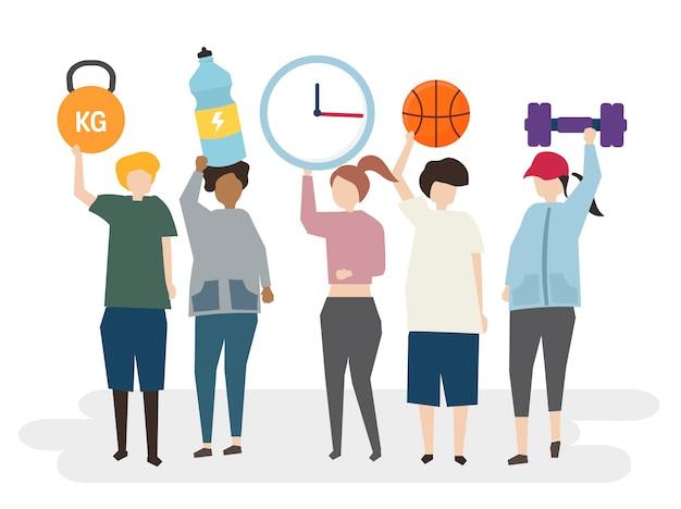 Grupo de pessoas exercitando ilustração