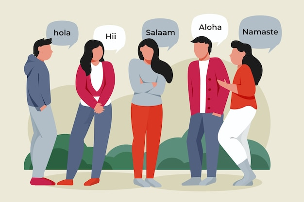 Grupo de pessoas falando em diferentes idiomas