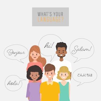 Grupo de pessoas falando em diferentes idiomas.