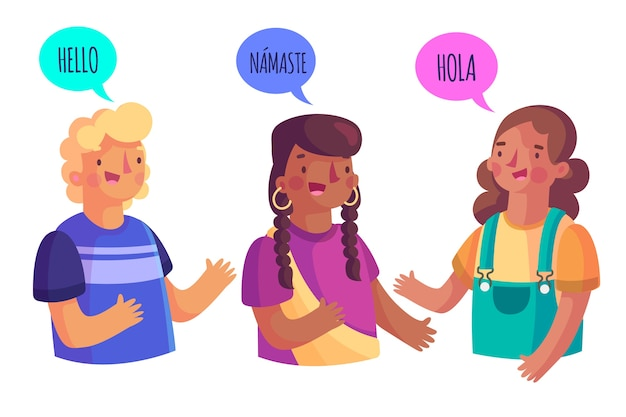 Grupo de pessoas falando idiomas diferentes