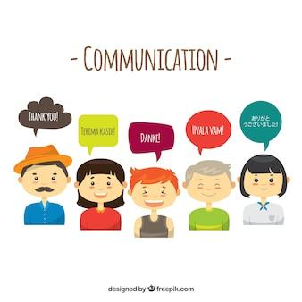 Grupo de pessoas falando línguas diferentes com design plano