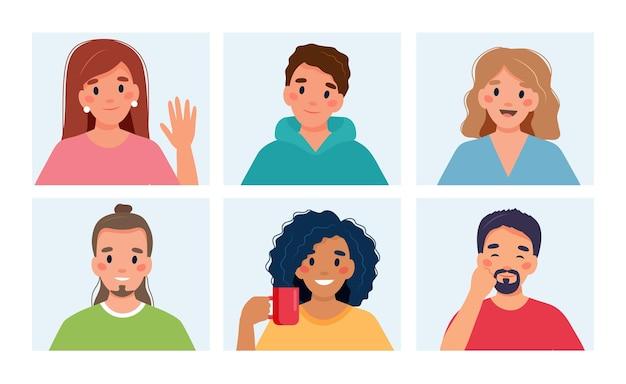Grupo de pessoas fazendo chamadas em grupo.