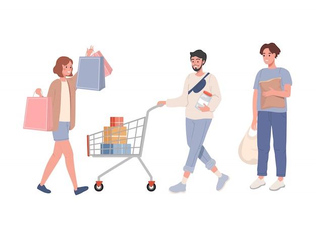 Grupo de pessoas fazendo compras com bolsas e vetor de cestas de compras