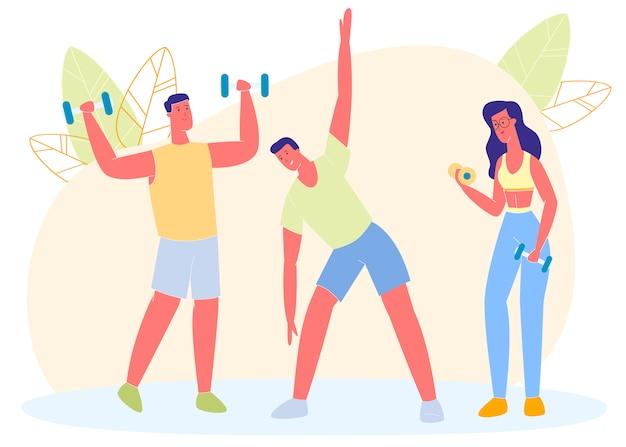 Grupo de pessoas fazendo exercícios de esportes, treino