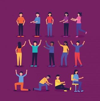 Grupo de pessoas fazendo gestos