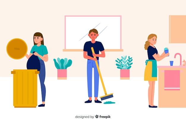 Grupo de pessoas fazendo tarefas domésticas ilustradas