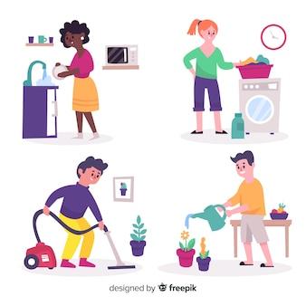 Grupo de pessoas fazendo trabalhos domésticos