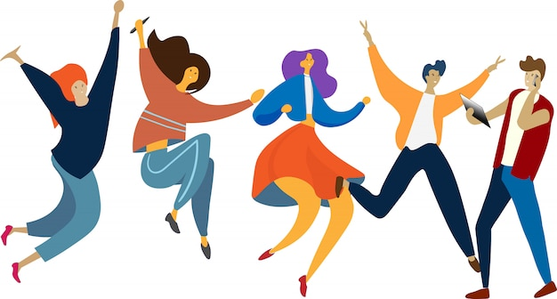 Grupo de pessoas feliz pulando. estilo de vida saudável, amizade, sucesso, comemorando o conceito de vitória.