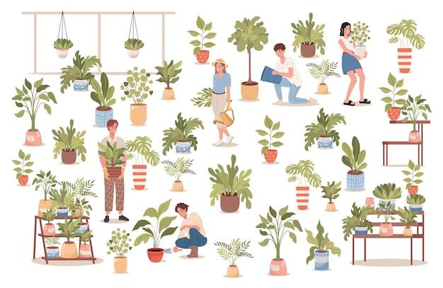 Grupo de pessoas felizes em floricultura