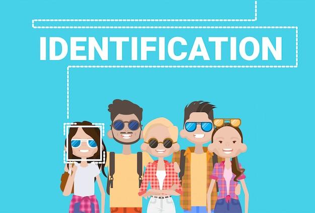 Grupo de pessoas identificação biométrica sistema de digitalização facial moderna tecnologia de controle de acesso