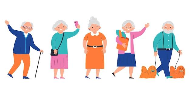 Grupo de pessoas idosas felizes isoladas sobre fundo branco. ilustração vetorial em estilo simples