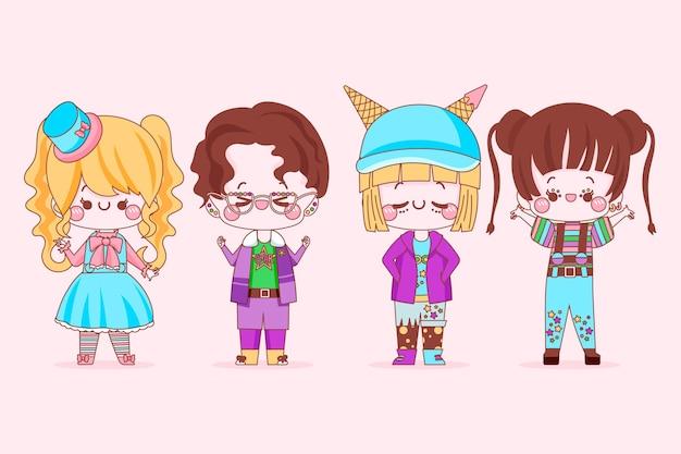 Grupo de pessoas incríveis no estilo harajuku