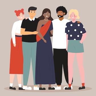 Grupo de pessoas interculturais juntos