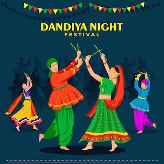Grupo de pessoas jogando garba na noite de dandiya