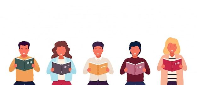 Grupo de pessoas lendo livros. jovens elegantes com livros abertos nas mãos. homens e mulheres durante o ensino.