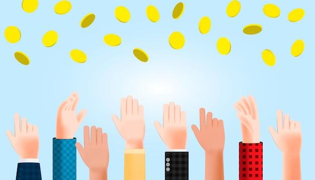 Grupo de pessoas levantando as mãos de ilustração dos desenhos animados 3d tenta agarrar a moeda de dinheiro caindo. desenho vetorial