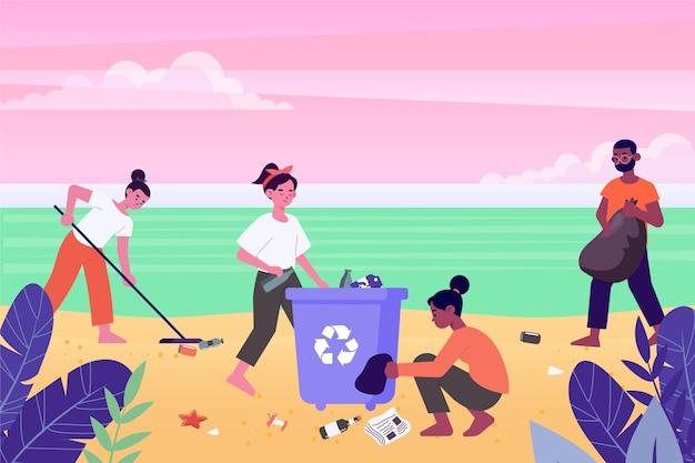 Grupo de pessoas limpando praia