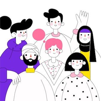 Grupo de pessoas mão desenhada design