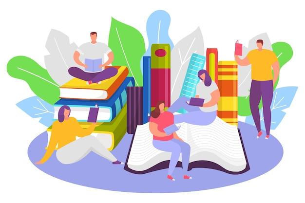 Grupo de pessoas minúsculo personagem ler livro obter conhecimento masculino e feminino sentado livro pilha fla ...