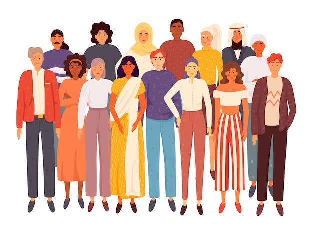 Grupo de pessoas multirracial e multicultural diverso isolado. diversidade social. ilustração plana dos desenhos animados